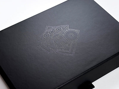 Black Folding Gift Box with Custom Tone on Tone Black Foil Logo