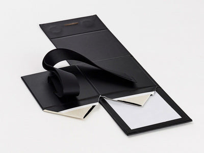 Black Large Cube Gift Box Supplied Flat with Ribbon