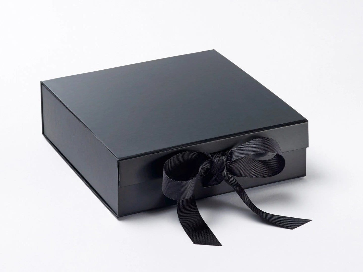 Medium Black Gift Box with changeable ribbon from Foldabox