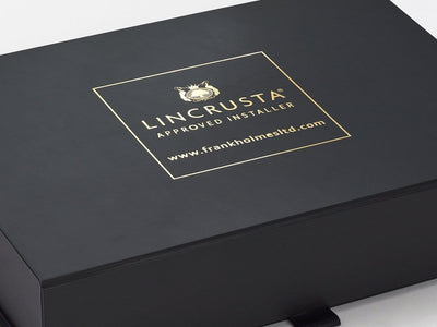 Black A5 Folding Gift Box with Custom Gold Foil Logo