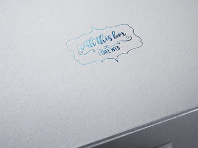 Silver Gift Box with Custom Blue Foil Logo to Lid
