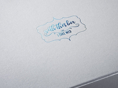 Silver Folding Gift Box with Custom Printed Blue Foil Logo to Lid