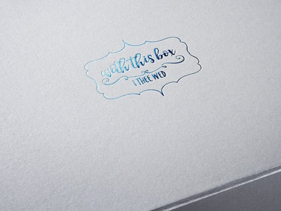 Silver Folding Gift Box with Custom Printed Blue Foil Logo