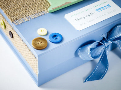 Hand Decorated Pale Blue Keepsake Gift Box by Rebecca Caddy of Quaint Hearted Weddings