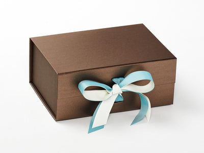 Bronze Gift Box Featuring Nile Blue and Ivory Double Ribbon Bow