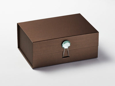 Bronze Gift Box with Mint Green Tourmaline Gemstone Closure