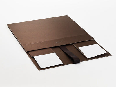 Bronze Luxury Folding Gift Boxes supplied Flat