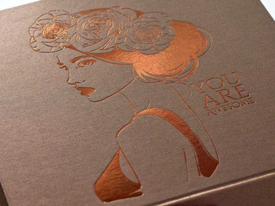 Bronze Folding Gift Box with Copper Foil Design