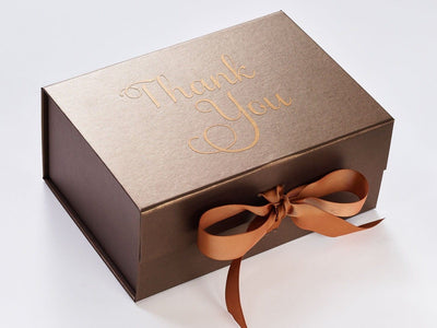 Example of Bronze Folding Gift Box with Copper Foil and Copper Ribbon from Beau and Bella