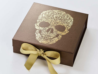 Example of Bronze Folding Gift Box with Gold Foil Logo and Gold Ribbon