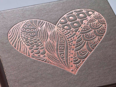 Bronze Folding Gift Box with Custom Rose Gold Foil Printed Heart Design