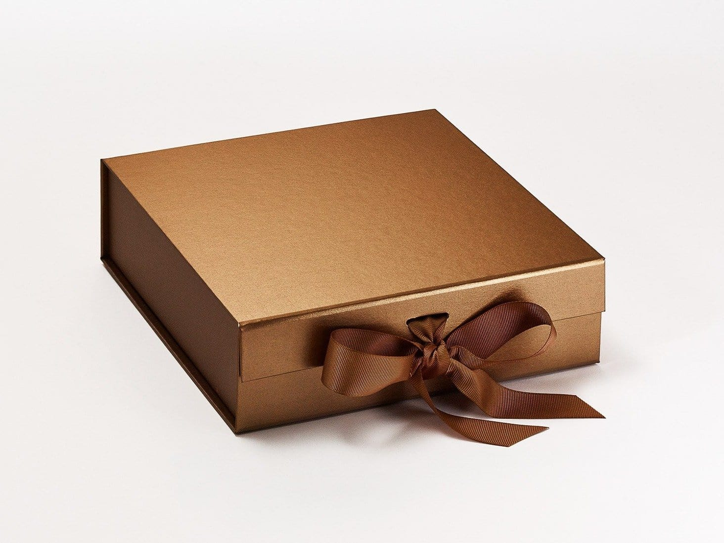Medium Copper Folding Gift Box Sample  with Changeable Ribbon