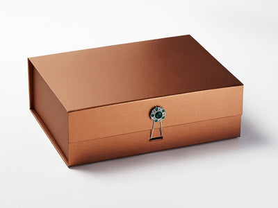 Copper Gift Box with Emerald and Diamond Flower Gemstone Closure