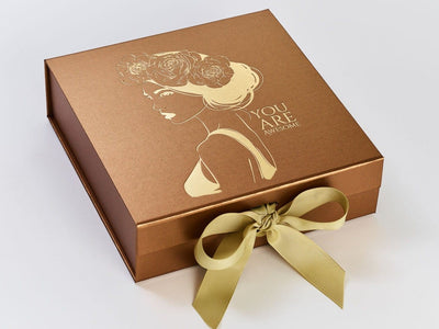 Copper Folding Gift Box with Gold Grosgrain Ribbon and Custo Gold Foil Printed Design
