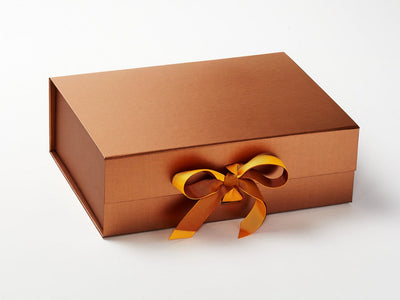 Copper Gift Box with additional Dandelion Double Ribbon Bow