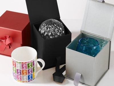 Large Black Cube Gift Boxes Perfect For Mug and Candle Packaging from Foldabox