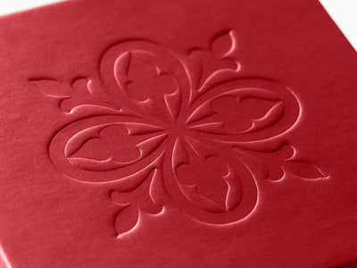 Custom Debossed Logo to Lid of Red Pearl Gift Box