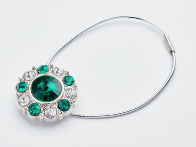 Emerald and Diamond Flower Gemstone Gift Box Closure Sample with Silver Elastic Cord