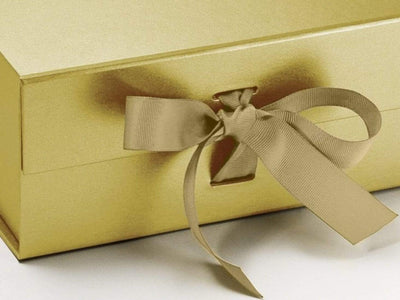 Gold A5 Deep Gift Box Ribbon Detail from Foldabox