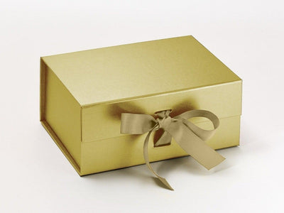 Gold A5 Deep Folding Gift Box with Changeable Ribbon