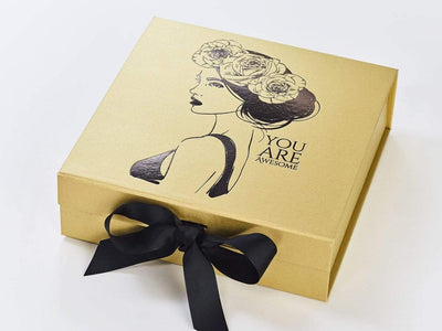 Example of Gold Box with Black Foil Logo and Black Ribbon