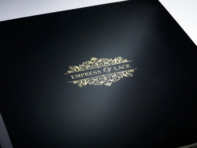 Custom Gold Foil Printed Logo on Lid of Black Folding Gift Box