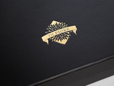 Black Folding Gift Box with Custom Printed Gold Foil Logo