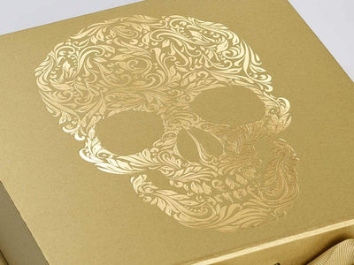 Gold Foil Skull Design on Gold Gift Box from Foldabox