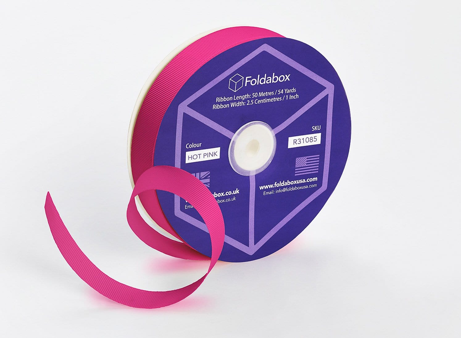 Hot Pink 50m x 2.5cm Grosgrain Ribbon Roll
