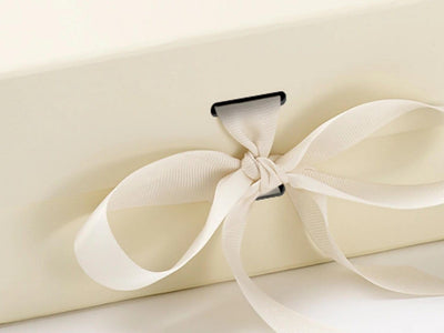 Ivory A5 Deep Slot Gift Box with changeable ribbon detail