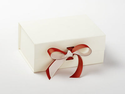 Ivory Gift Box with Additional Golden Brown Double Ribbon Bow