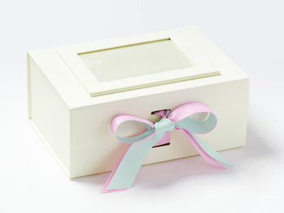 Ivory A5 Deep Gift Box with Crystaline and Tulip Double Ribbon Bow and Ivory Photo Frame