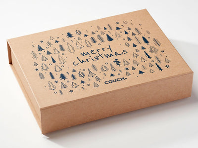 Natural Kraft Gift Box with Custom Screen Printed Design