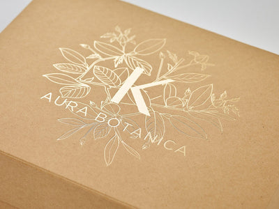 Natural Kraft A4 Shallow Gift Box with Custom Foil Logo from Foldabox