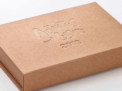 Natural Kraft A4 Shallow Gift Box eith Custom Debossed Logo from Foldabox