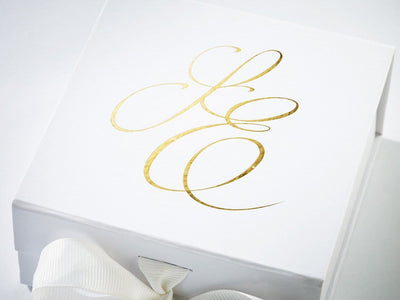 White Small Folding Gift Box with Custom Printed Gold Foil Logo