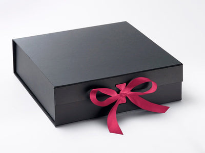 Large Black Gift Box featured with Hot Pink ribbon from Foldabox