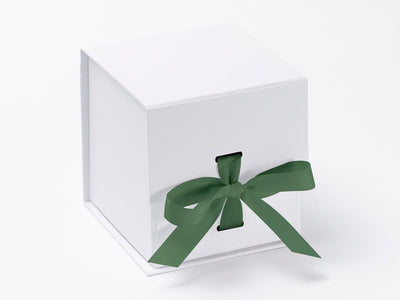 White Large Cube Slot Gift Box with Sage Green Ribbon from Foldabox
