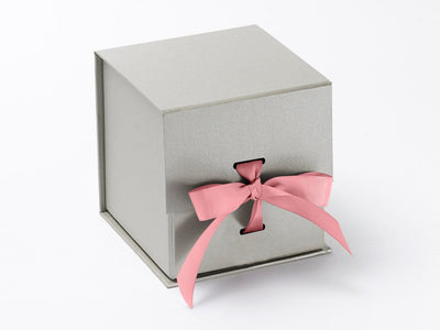 Large Silver Cube Slot Gift Box with Rose Pink Grosgrain Ribbon
