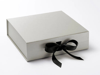 Large  Silver Folding Gift Box Featured with black ribbon