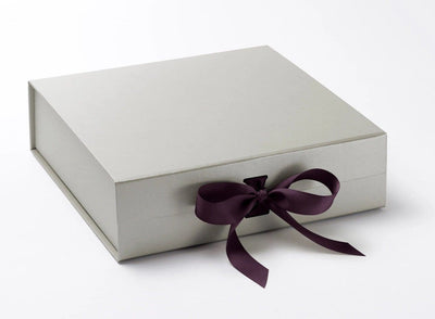 Silver Large Gift Box Featured with Plum Purple Ribbon