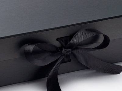 Large Black Gift Box with Changeable ribbon detail from Foldabox