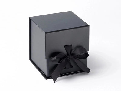 Black Large Cube Gift Box with changeable ribbon from Foldabox UK