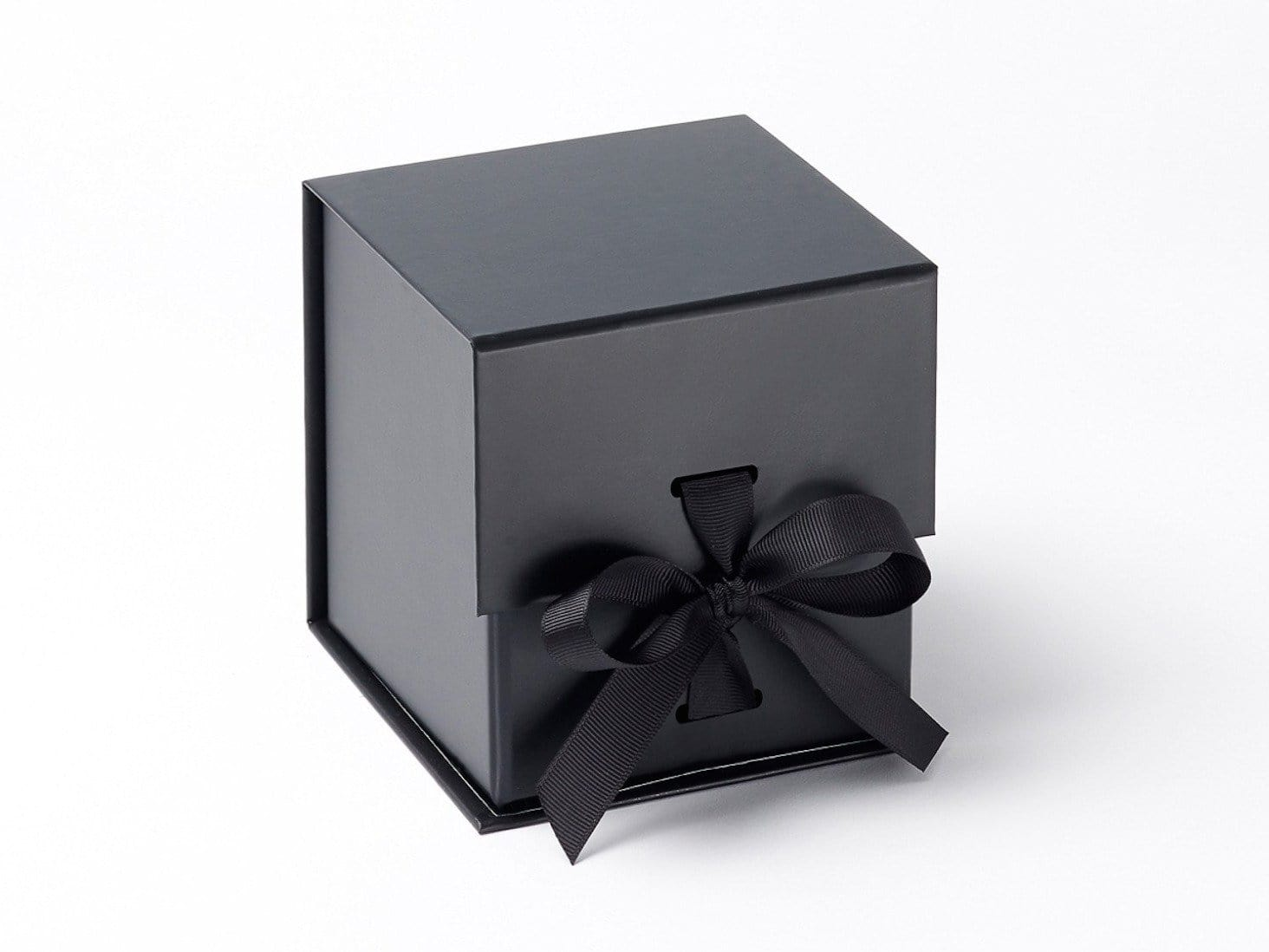 Black Large Cube Gift Box Sample with changeable ribbon available from UK stock