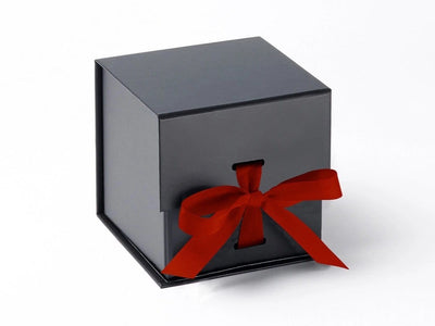 Large Black Cube Gift Box featured with bright red ribbon from Foldabox UK