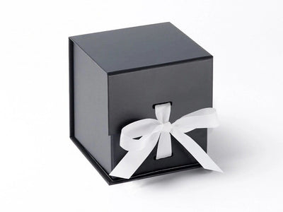 Black Large Cube Gift Box featured with White Ribbon from Foldabox UK