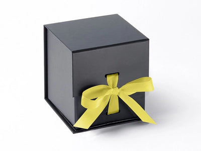 Black Large Cube Gift Box featured with Lemon Yellow Ribbon from Foldabox UK