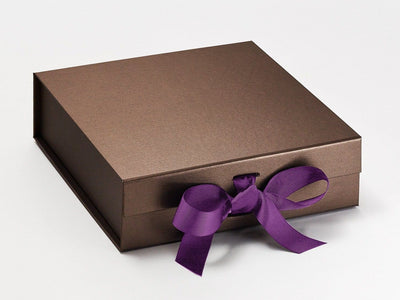 Bronze Luxury Gift Box Featured with Ultra Violet Ribbon