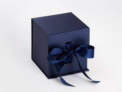 Navy Blue Large Cube Folding Gift Box Ideal Candle Packaging