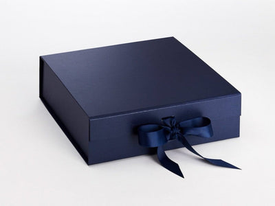 Navy Blue Large Folding Gift Box with Magentic Closures and Ribbon